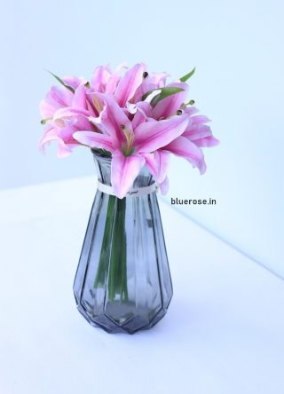 artificial lilly flower bunch set of 7 (4)