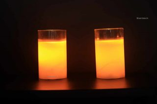 Led candle in glass and wax (1)