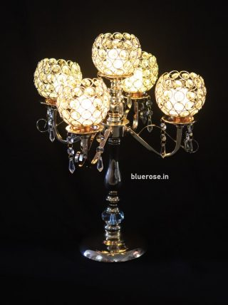 golden crystal candle stands- 5 arms (1)