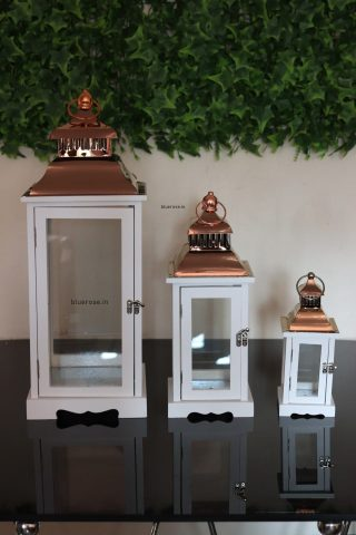 white set of 3 copper top lantern for your decorations (1)