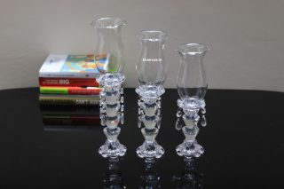 set of 3 glass crystal candle stands for you table centerpiece decorations (2)